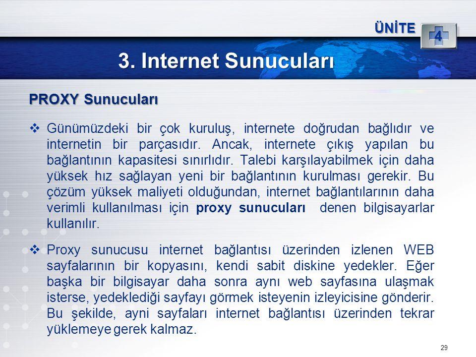 29 3. Internet Sunucuları ÜNİTE 4 PROXY Sunucuları  Günümüzdeki bir çok kuruluş, internete doğrudan bağlıdır ve internetin bir parçasıdır. Ancak, int