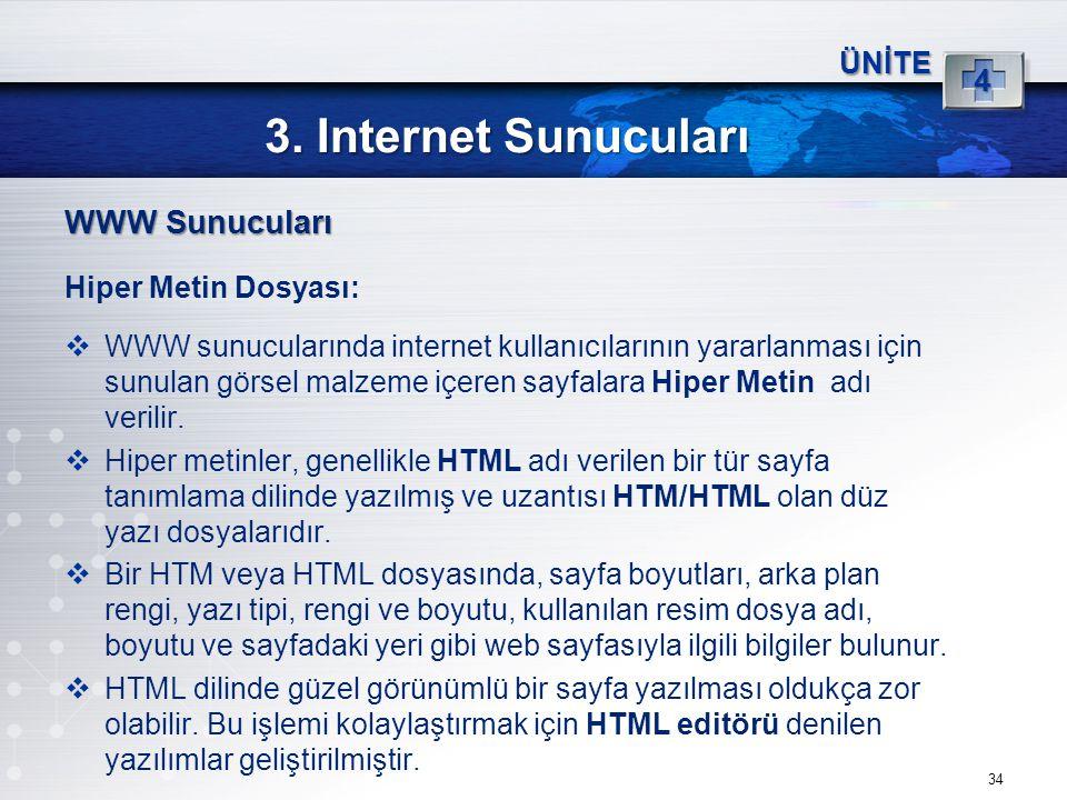 34 3. Internet Sunucuları ÜNİTE 4 WWW Sunucuları Hiper Metin Dosyası:  WWW sunucularında internet kullanıcılarının yararlanması için sunulan görsel m