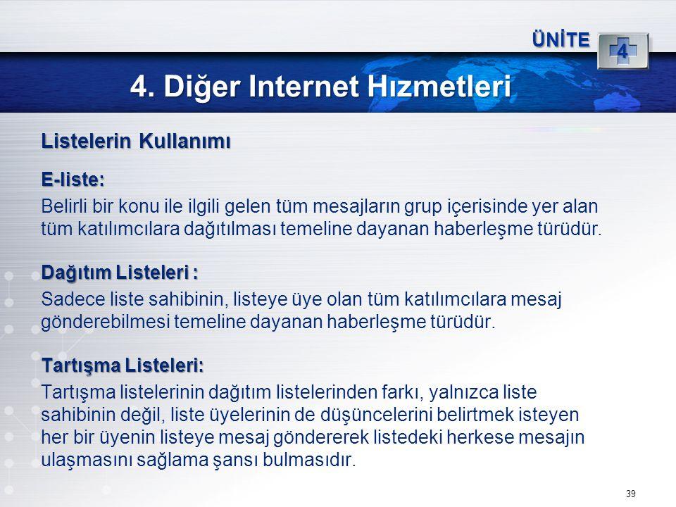 39 4. Diğer Internet Hızmetleri ÜNİTE 4 Listelerin Kullanımı E-liste: Belirli bir konu ile ilgili gelen tüm mesajların grup içerisinde yer alan tüm ka