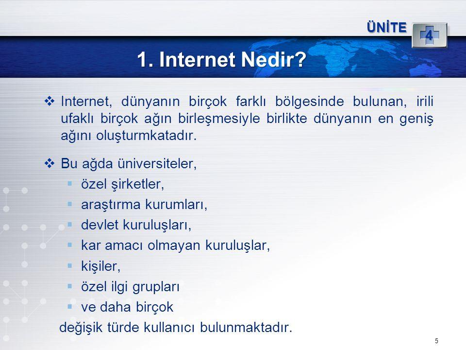 5 1. Internet Nedir? ÜNİTE 4  Internet, dünyanın birçok farklı bölgesinde bulunan, irili ufaklı birçok ağın birleşmesiyle birlikte dünyanın en geniş
