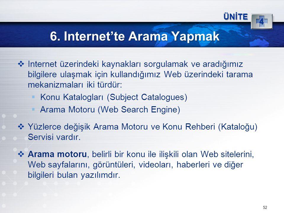 52 6. Internet'te Arama Yapmak ÜNİTE 4  Internet üzerindeki kaynakları sorgulamak ve aradığımız bilgilere ulaşmak için kullandığımız Web üzerindeki t
