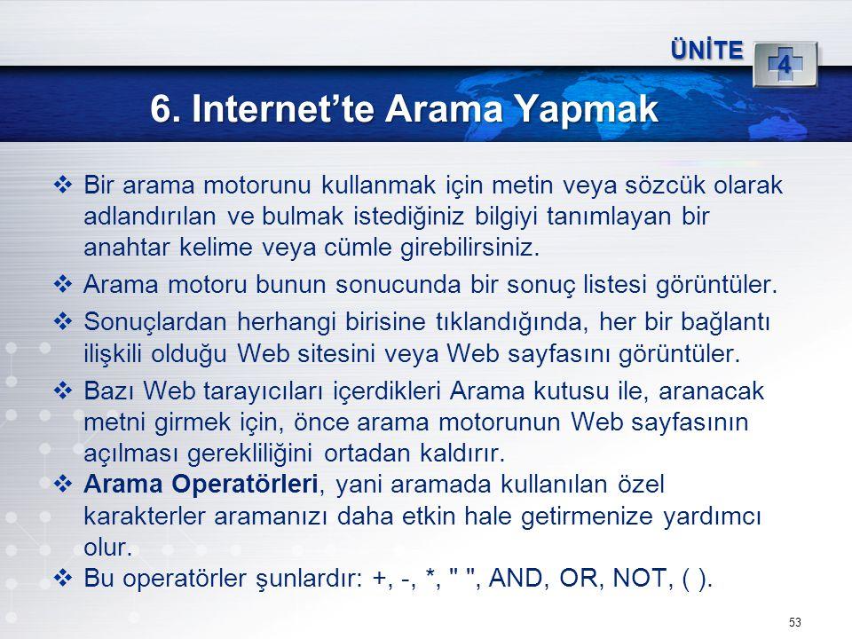 53 6. Internet'te Arama Yapmak ÜNİTE 4  Bir arama motorunu kullanmak için metin veya sözcük olarak adlandırılan ve bulmak istediğiniz bilgiyi tanımla