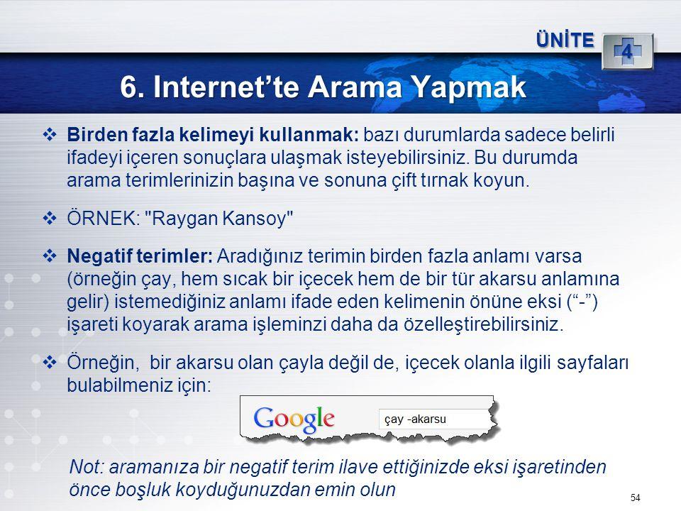 54 6. Internet'te Arama Yapmak ÜNİTE 4  Birden fazla kelimeyi kullanmak: bazı durumlarda sadece belirli ifadeyi içeren sonuçlara ulaşmak isteyebilirs