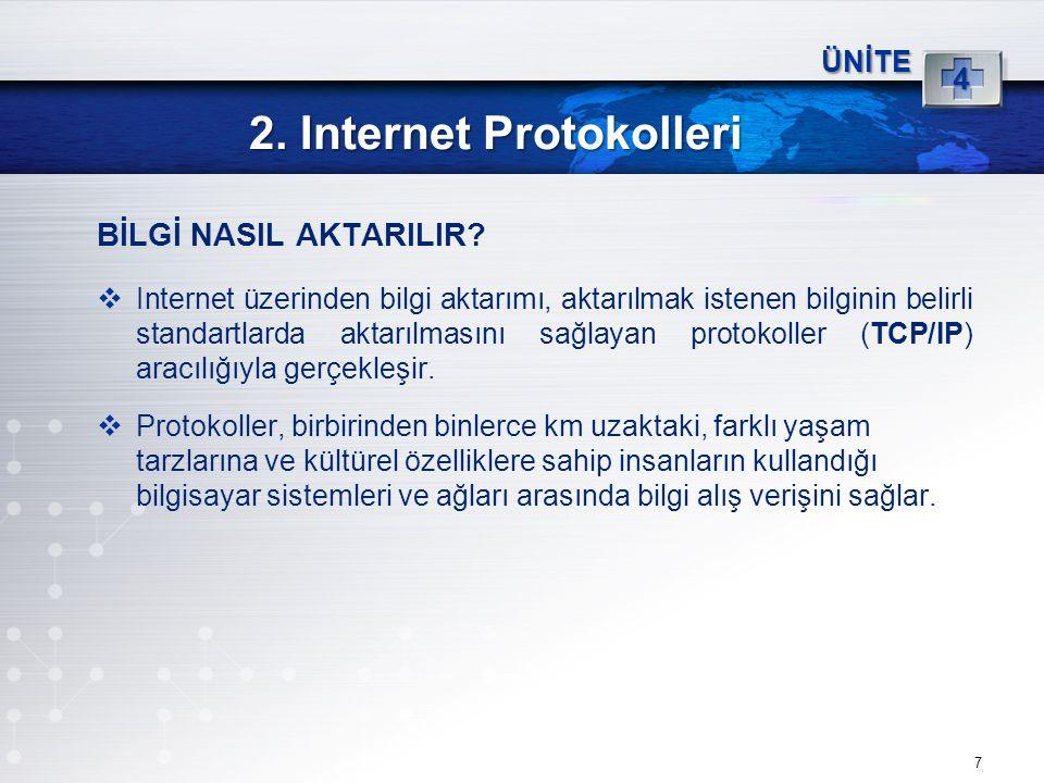 7 2. Internet Protokolleri ÜNİTE 4 BİLGİ NASIL AKTARILIR?  Internet üzerinden bilgi aktarımı, aktarılmak istenen bilginin belirli standartlarda aktar