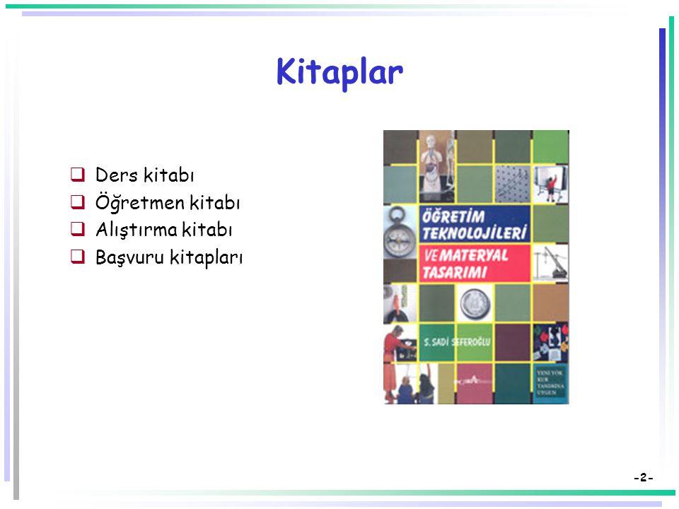 Öğretim Teknolojileri ve Materyal Tasarımı Öğretimde Görsel-İşitsel Araçlar Görsel Araçlar: Kitaplar, Tahtalar Dr. Süleyman Sadi SEFEROĞLU Hacettepe Ü