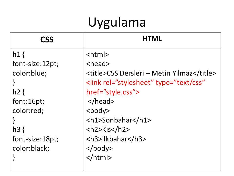 Uygulama CSS HTML h1 { font-size:12pt; color:blue; } h2 { font:16pt; color:red; } h3 { font-size:18pt; color:black; } CSS Dersleri – Metin Yılmaz Sonb