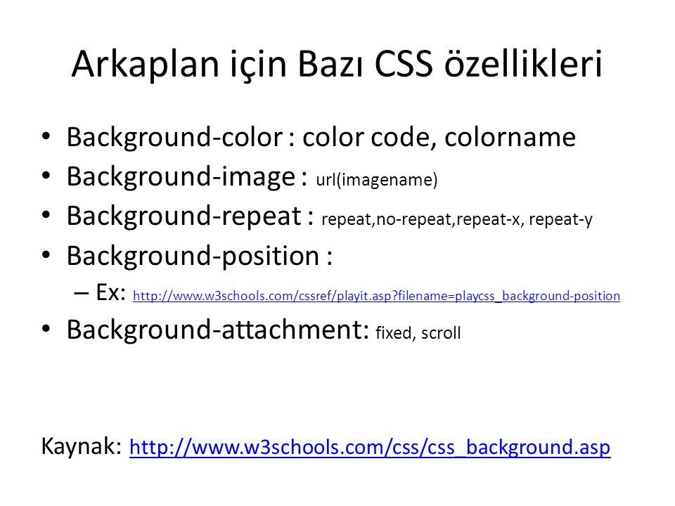 Arkaplan için Bazı CSS özellikleri Background-color : color code, colorname Background-image : url(imagename) Background-repeat : repeat,no-repeat,rep