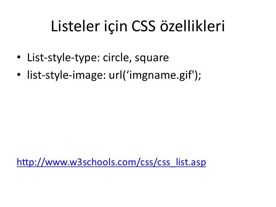 Listeler için CSS özellikleri List-style-type: circle, square list-style-image: url('imgname.gif'); http://www.w3schools.com/css/css_list.asp