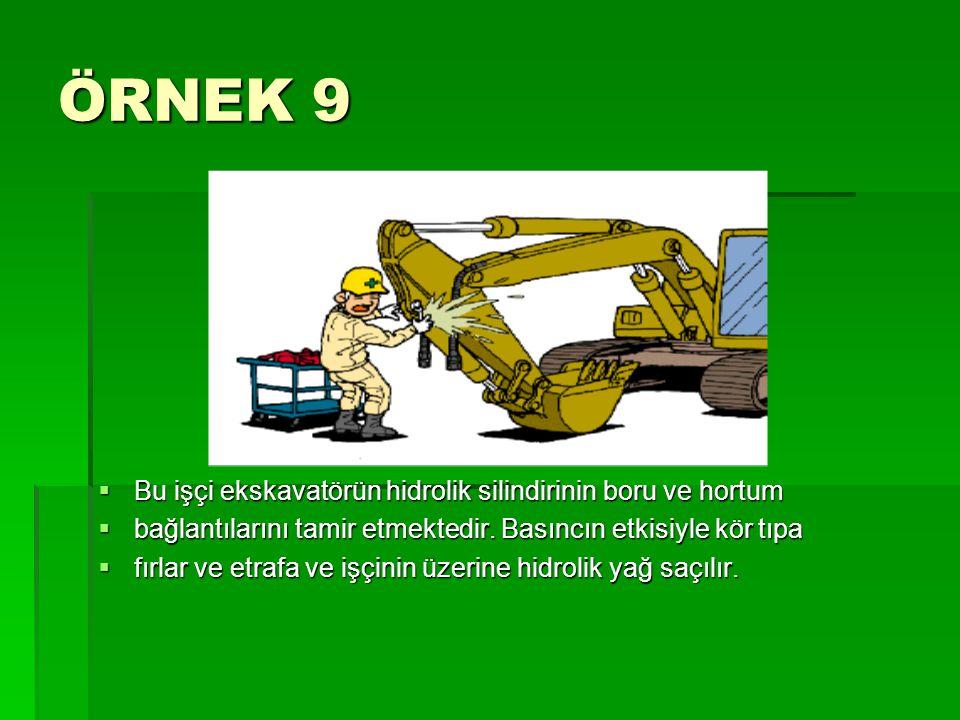 ÖRNEK 9  Bu işçi ekskavatörün hidrolik silindirinin boru ve hortum  bağlantılarını tamir etmektedir. Basıncın etkisiyle kör tıpa  fırlar ve etrafa