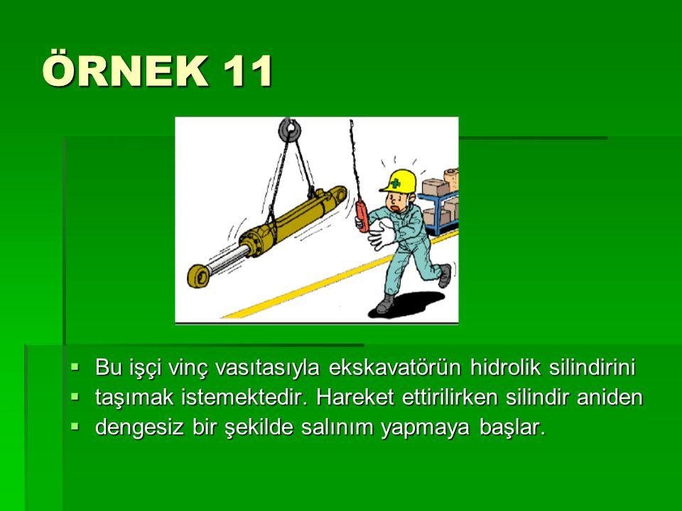 ÖRNEK 11  Bu işçi vinç vasıtasıyla ekskavatörün hidrolik silindirini  taşımak istemektedir. Hareket ettirilirken silindir aniden  dengesiz bir şeki