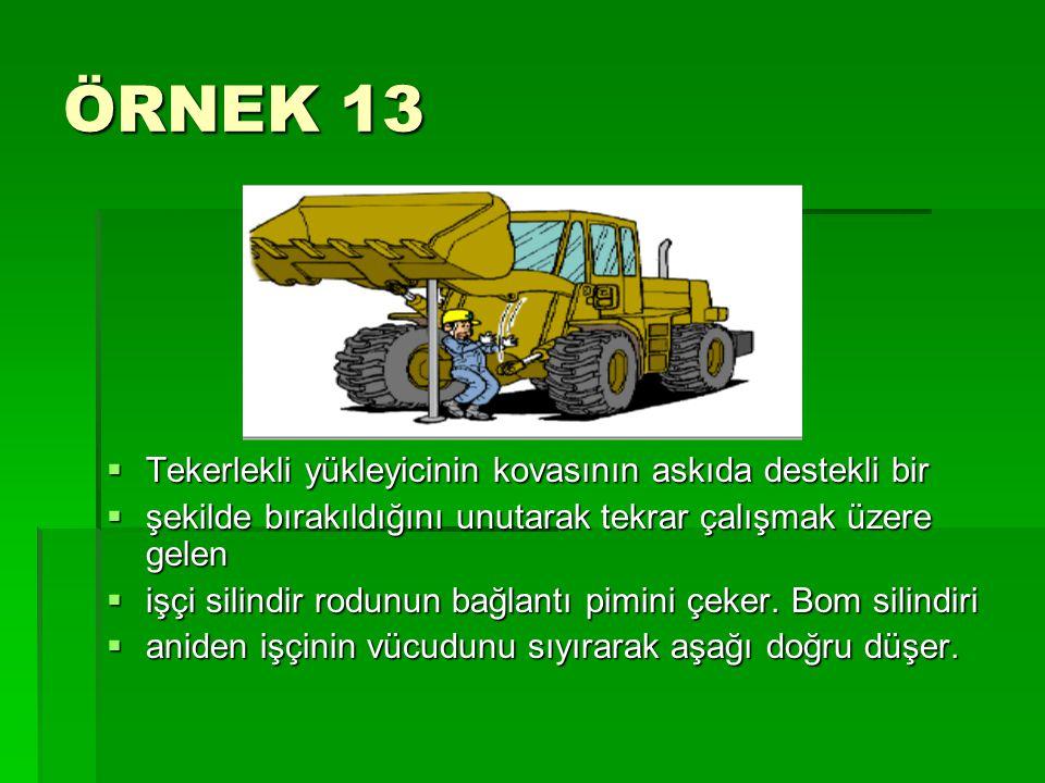 ÖRNEK 13  Tekerlekli yükleyicinin kovasının askıda destekli bir  şekilde bırakıldığını unutarak tekrar çalışmak üzere gelen  işçi silindir rodunun
