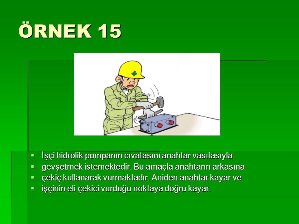 ÖRNEK 15  İşçi hidrolik pompanın cıvatasını anahtar vasıtasıyla  gevşetmek istemektedir. Bu amaçla anahtarın arkasına  çekiç kullanarak vurmaktadır