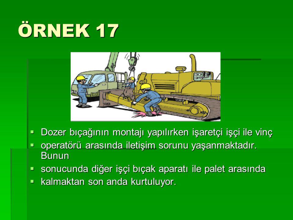 ÖRNEK 17  Dozer bıçağının montajı yapılırken işaretçi işçi ile vinç  operatörü arasında iletişim sorunu yaşanmaktadır. Bunun  sonucunda diğer işçi
