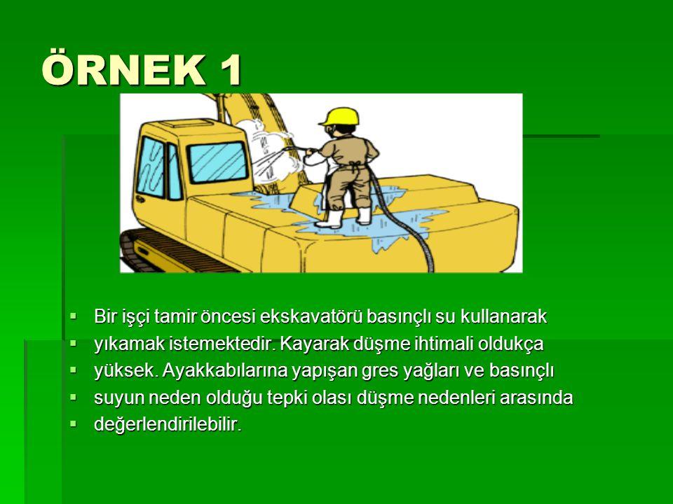 ÖRNEK 1  Bir işçi tamir öncesi ekskavatörü basınçlı su kullanarak  yıkamak istemektedir. Kayarak düşme ihtimali oldukça  yüksek. Ayakkabılarına yap