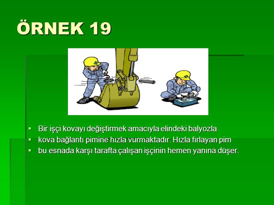 ÖRNEK 19  Bir işçi kovayı değiştirmek amacıyla elindeki balyozla  kova bağlantı pimine hızla vurmaktadır. Hızla fırlayan pim  bu esnada karşı taraf