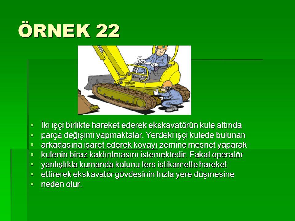 ÖRNEK 22  İki işçi birlikte hareket ederek ekskavatörün kule altında  parça değişimi yapmaktalar. Yerdeki işçi kulede bulunan  arkadaşına işaret ed