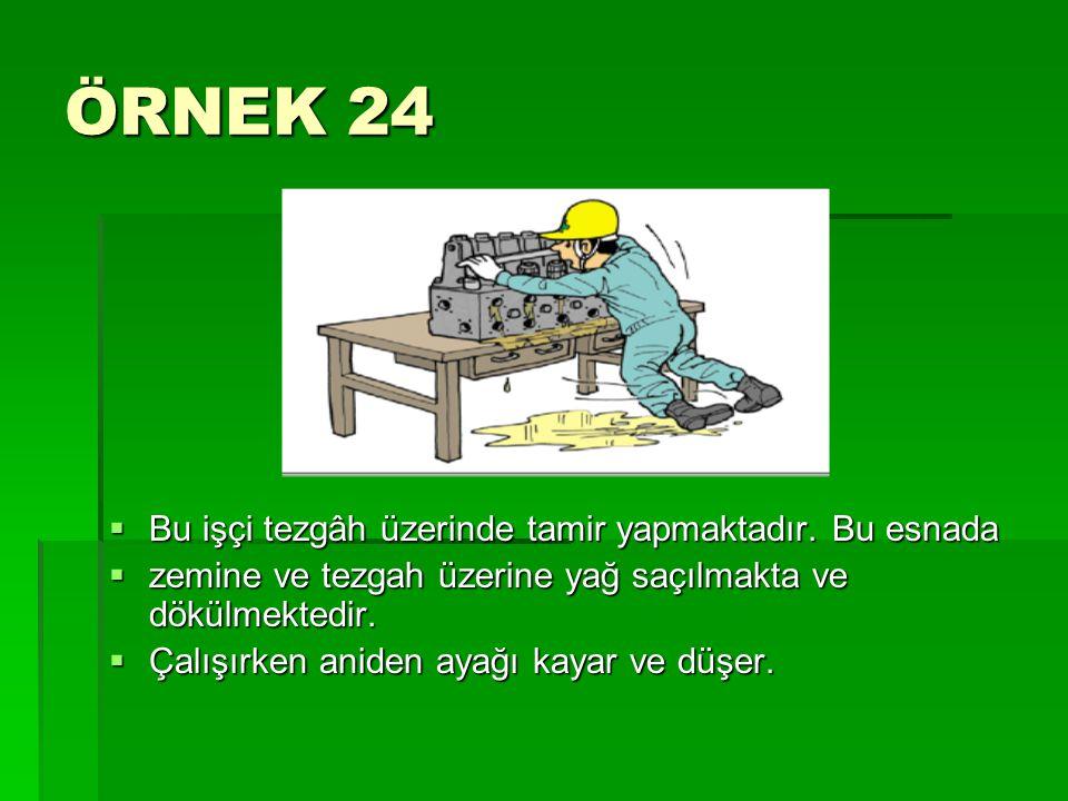 ÖRNEK 24  Bu işçi tezgâh üzerinde tamir yapmaktadır. Bu esnada  zemine ve tezgah üzerine yağ saçılmakta ve dökülmektedir.  Çalışırken aniden ayağı