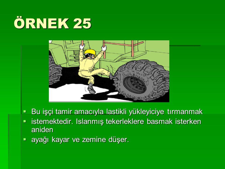 ÖRNEK 25  Bu işçi tamir amacıyla lastikli yükleyiciye tırmanmak  istemektedir. Islanmış tekerleklere basmak isterken aniden  ayağı kayar ve zemine