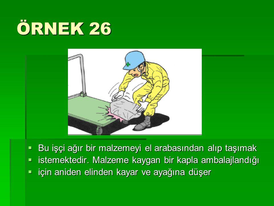 ÖRNEK 26  Bu işçi ağır bir malzemeyi el arabasından alıp taşımak  istemektedir. Malzeme kaygan bir kapla ambalajlandığı  için aniden elinden kayar