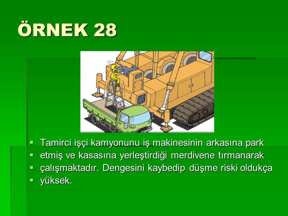 ÖRNEK 28  Tamirci işçi kamyonunu iş makinesinin arkasına park  etmiş ve kasasına yerleştirdiği merdivene tırmanarak  çalışmaktadır. Dengesini kaybe