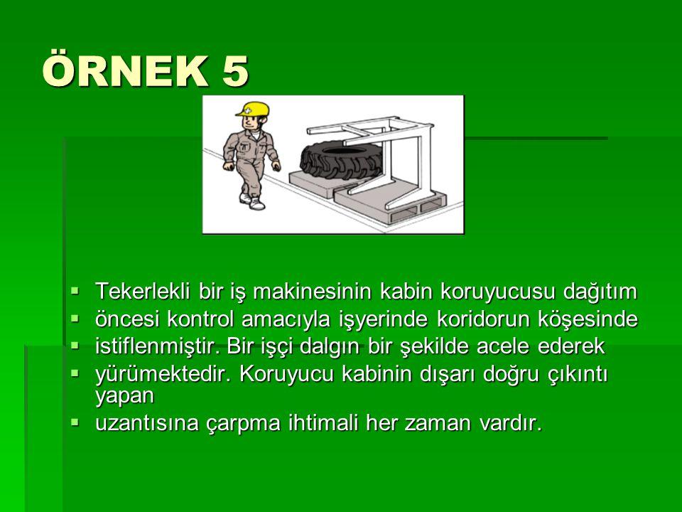 ÖRNEK 5  Tekerlekli bir iş makinesinin kabin koruyucusu dağıtım  öncesi kontrol amacıyla işyerinde koridorun köşesinde  istiflenmiştir. Bir işçi da