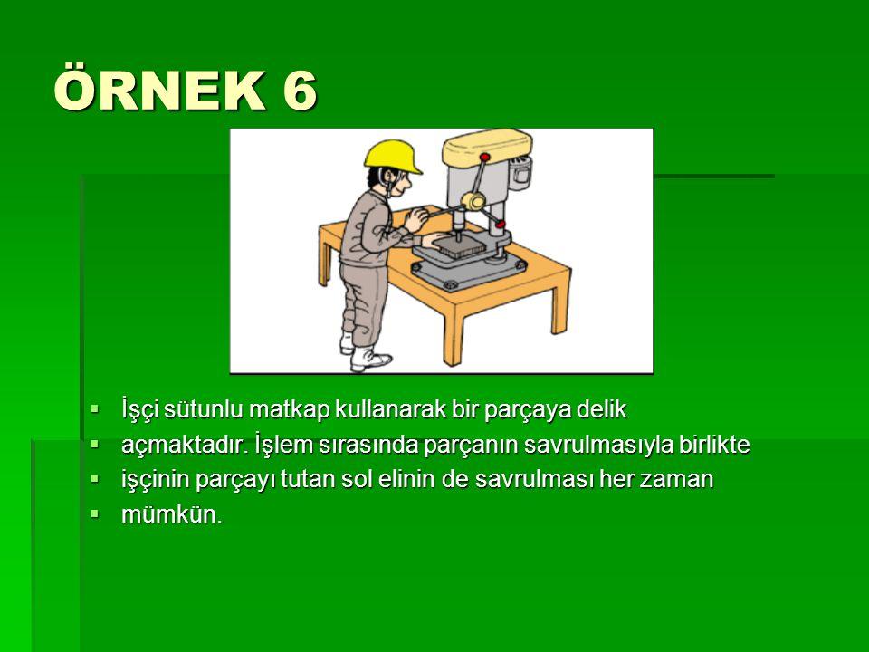ÖRNEK 6  İşçi sütunlu matkap kullanarak bir parçaya delik  açmaktadır. İşlem sırasında parçanın savrulmasıyla birlikte  işçinin parçayı tutan sol e