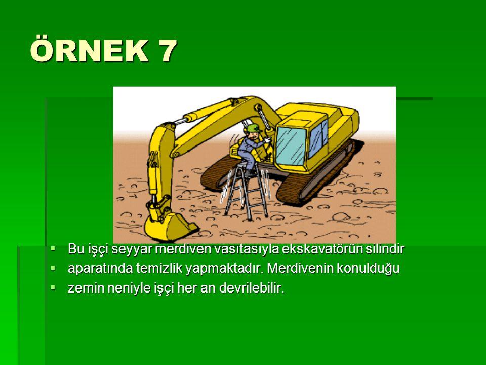 ÖRNEK 7  Bu işçi seyyar merdiven vasıtasıyla ekskavatörün silindir  aparatında temizlik yapmaktadır. Merdivenin konulduğu  zemin neniyle işçi her a