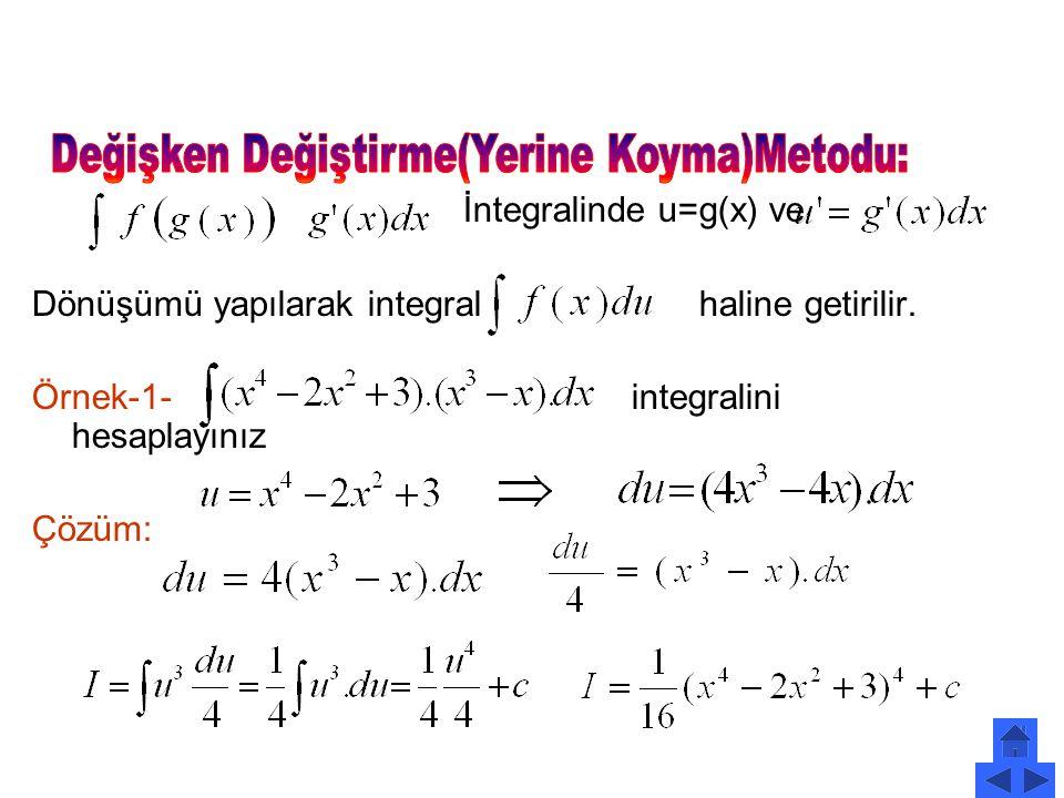 2. Belirsiz integrali aşağıdakilerden hangisi olamaz? A) B) C D) E)