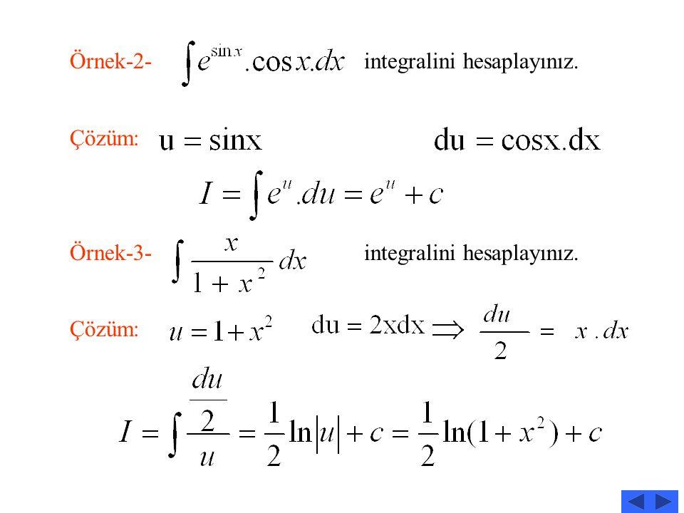İntegralinde u=g(x) ve Dönüşümü yapılarak integral haline getirilir. Örnek-1- integralini hesaplayınız Çözüm: