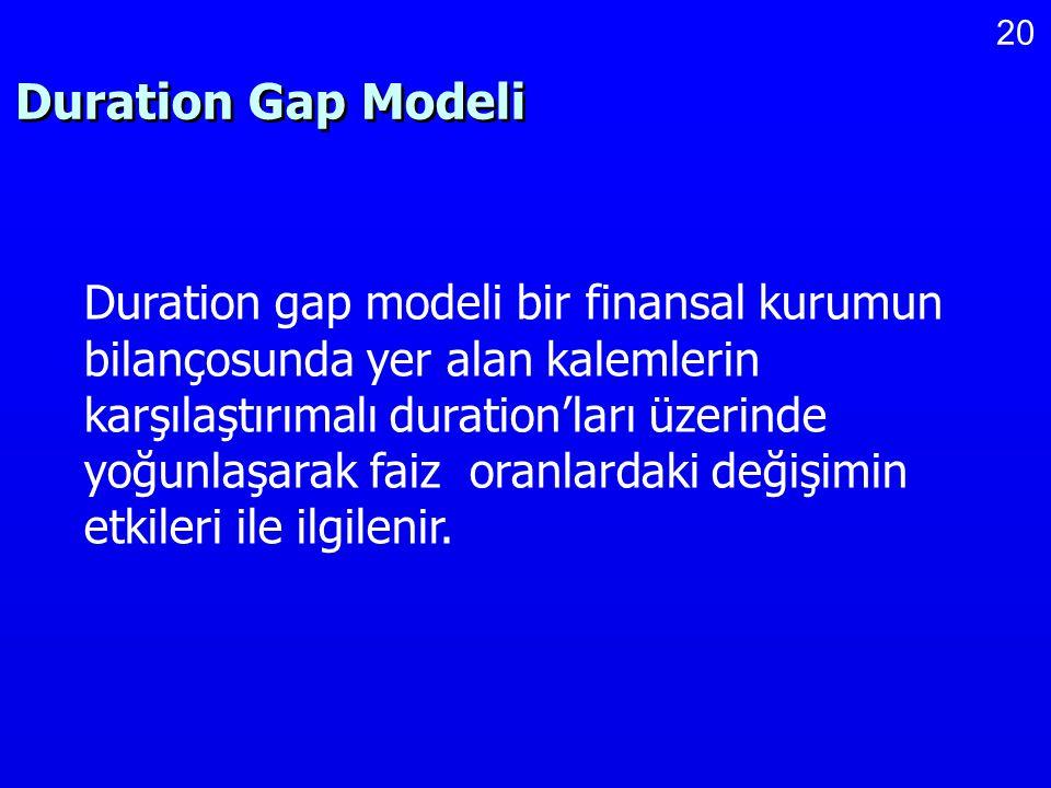 20 Duration Gap Modeli Duration gap modeli bir finansal kurumun bilançosunda yer alan kalemlerin karşılaştırımalı duration'ları üzerinde yoğunlaşarak