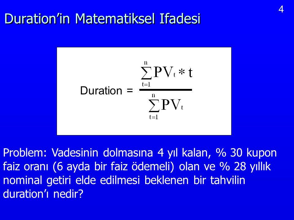 4 Duration'in Matematiksel Ifadesi Duration = Problem: Vadesinin dolmasına 4 yıl kalan, % 30 kupon faiz oranı (6 ayda bir faiz ödemeli) olan ve % 28 y