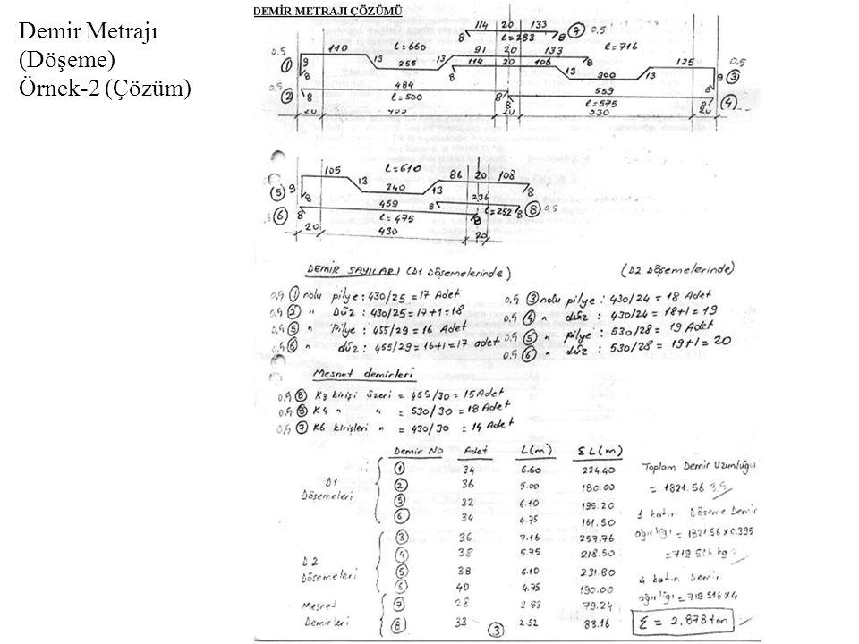 Demir Metrajı (Döşeme) Örnek-2 (Çözüm)