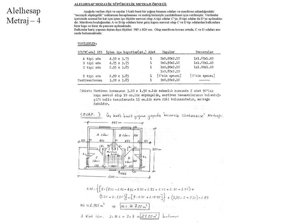 Kazı Metrajı Örneği-2 (El İle Dar Derin Kazı Planı)
