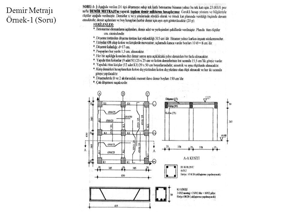 Demir Metrajı Örnek-1 (Çözüm)