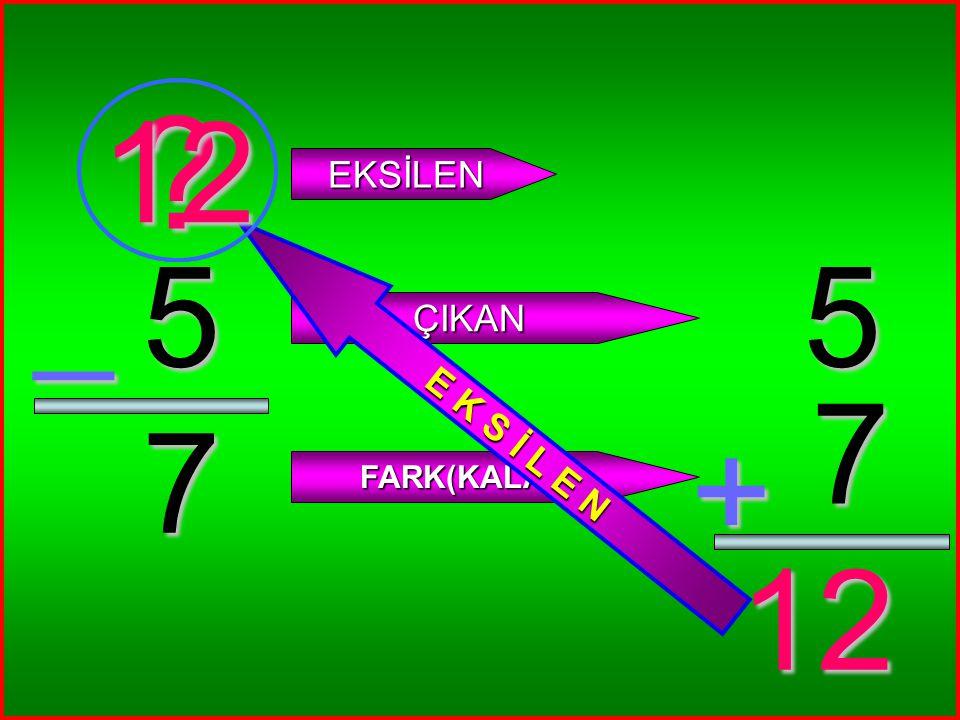 4 4 _ ? EKSİLEN ÇIKAN FARK(KALAN) 4 4 + 8 8