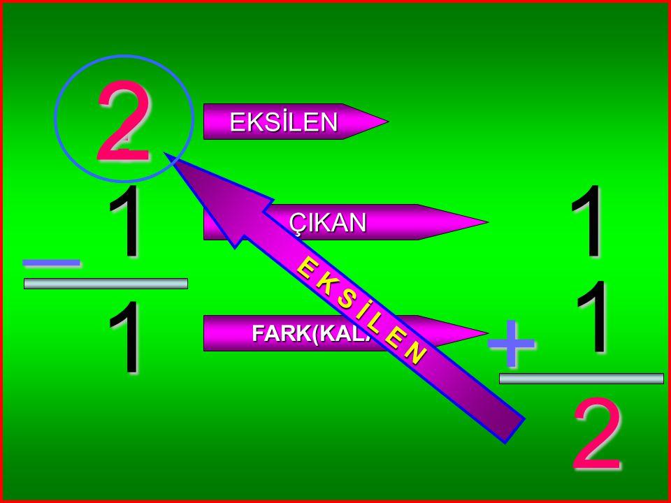 5 0 _ ? EKSİLEN ÇIKAN FARK(KALAN) 5 0 + 5 5