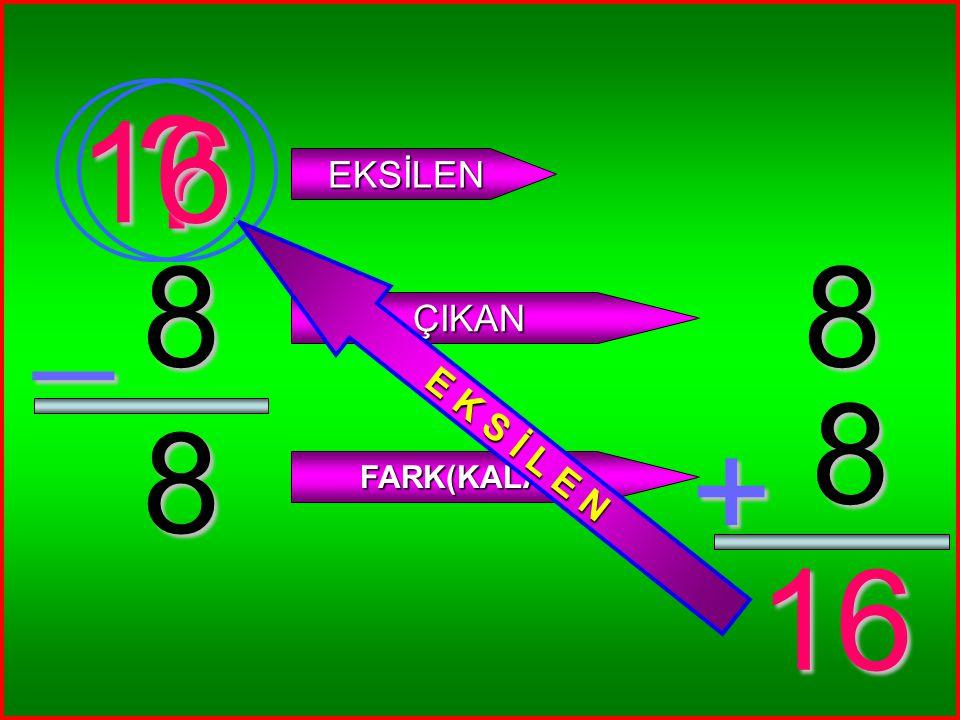 1 1 _ ? EKSİLEN ÇIKAN FARK(KALAN) 1 1 + 2 2