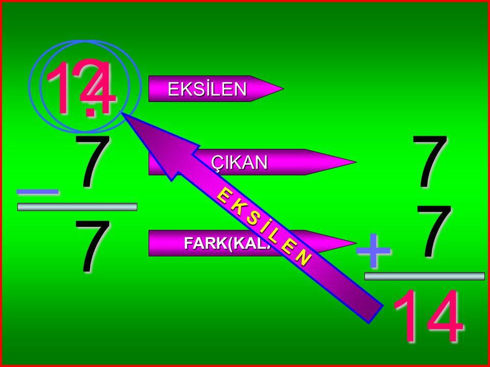 6 6 _ ? EKSİLEN ÇIKAN FARK(KALAN) 6 6 + 12 12