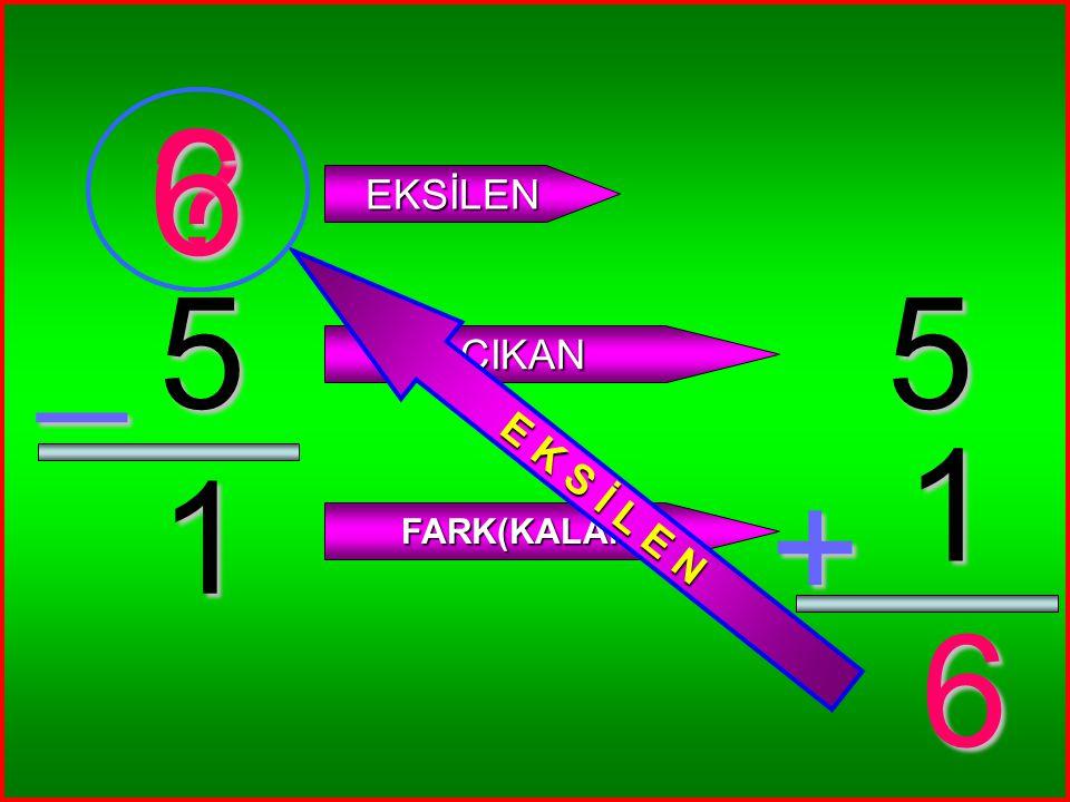 5 1 _ ? EKSİLEN ÇIKAN FARK(KALAN) 5 1 + 6 6