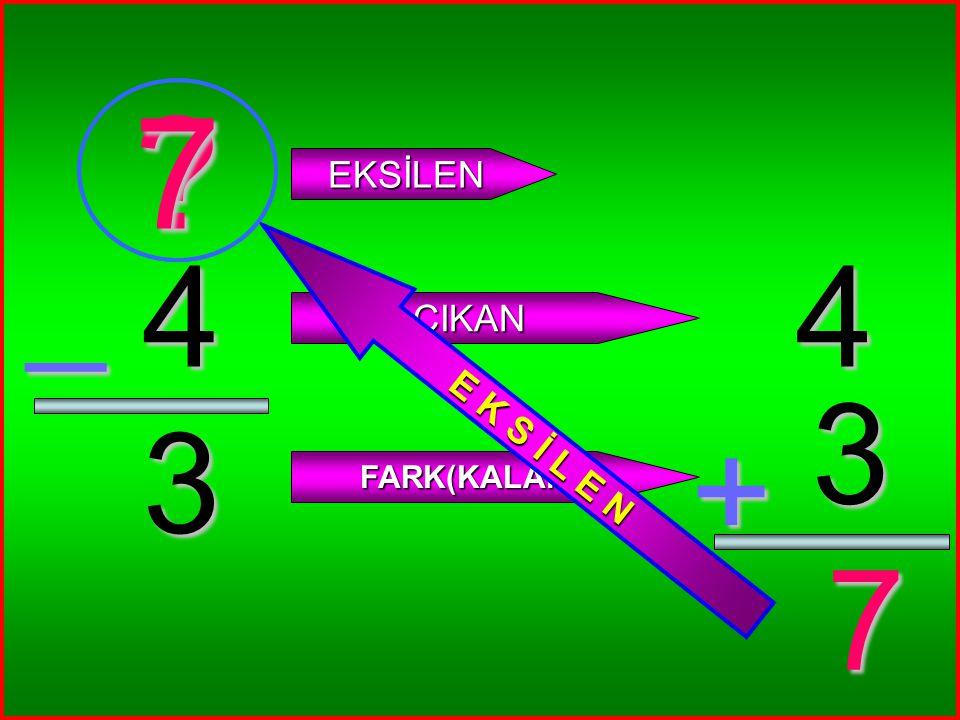 4 3 _ ? EKSİLEN ÇIKAN FARK(KALAN) 4 3 + 7 7