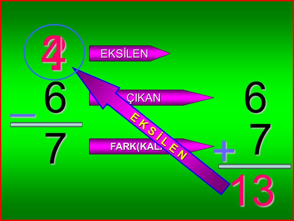 4 0 _ ? EKSİLEN ÇIKAN FARK(KALAN) 4 0 + 4 4