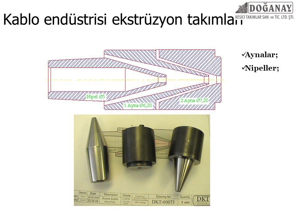 Kablo endüstrisi ekstrüzyon takımları Aynalar; Nipeller;