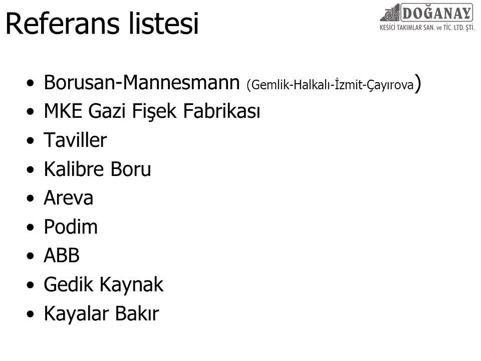 Referans listesi Borusan-Mannesmann (Gemlik-Halkalı-İzmit-Çayırova ) MKE Gazi Fişek Fabrikası Taviller Kalibre Boru Areva Podim ABB Gedik Kaynak Kayal