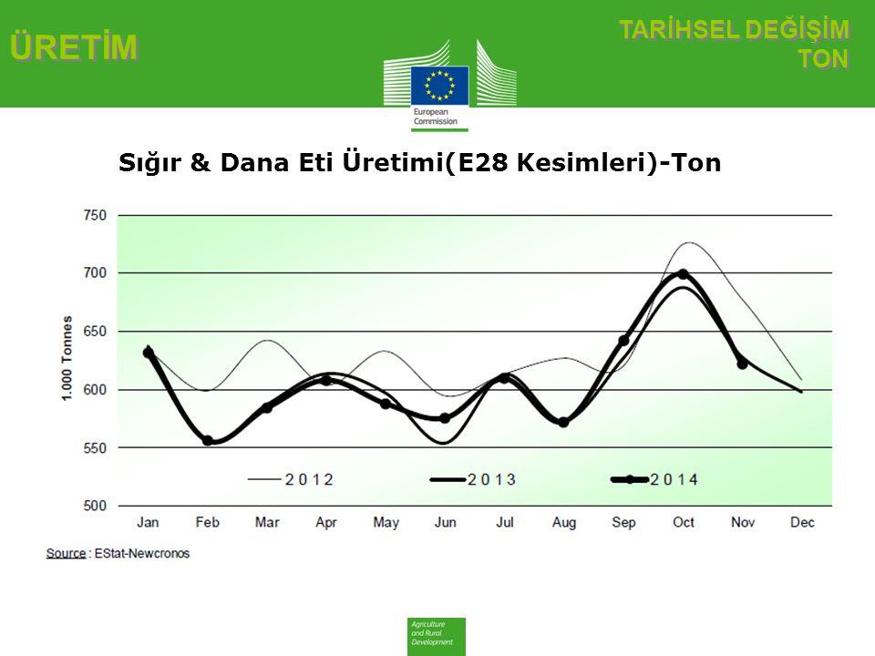 TARİHSEL DEĞİŞİM TON ÜRETİM Sığır & Dana Eti Üretimi(E28 Kesimleri)-Ton