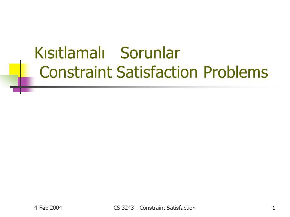 4 Feb 2004CS 3243 - Constraint Satisfaction1 Kısıtlamalı Sorunlar Constraint Satisfaction Problems
