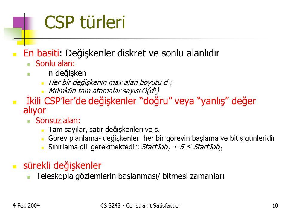 4 Feb 2004CS 3243 - Constraint Satisfaction10 CSP türleri En basiti: Değişkenler diskret ve sonlu alanlıdır Sonlu alan: n değişken Her bir değişkenin
