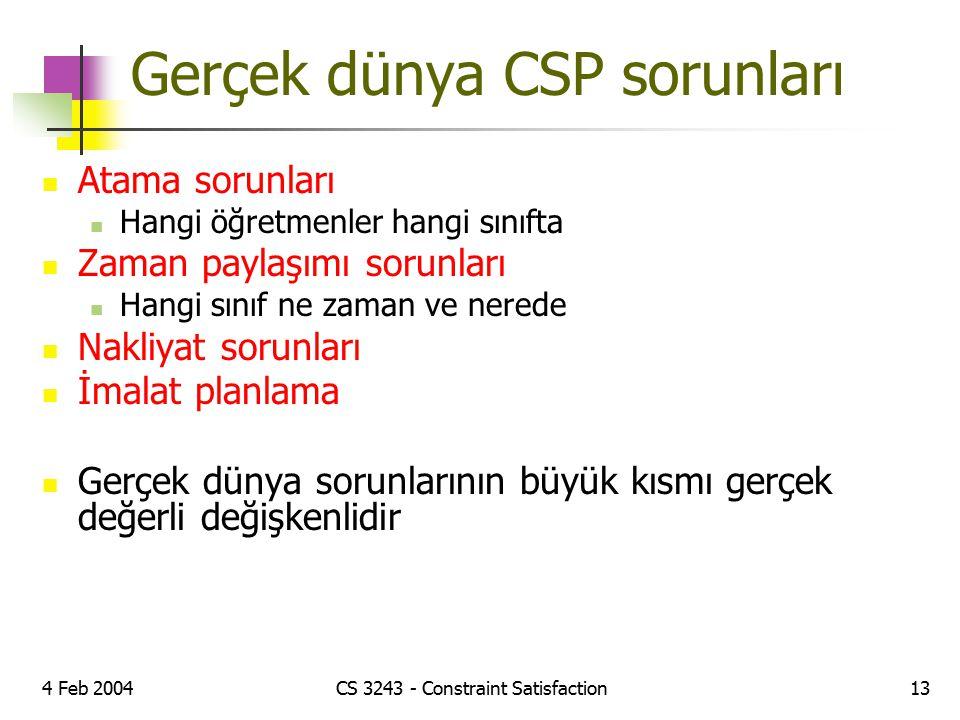 4 Feb 2004CS 3243 - Constraint Satisfaction13 Gerçek dünya CSP sorunları Atama sorunları Hangi öğretmenler hangi sınıfta Zaman paylaşımı sorunları Han