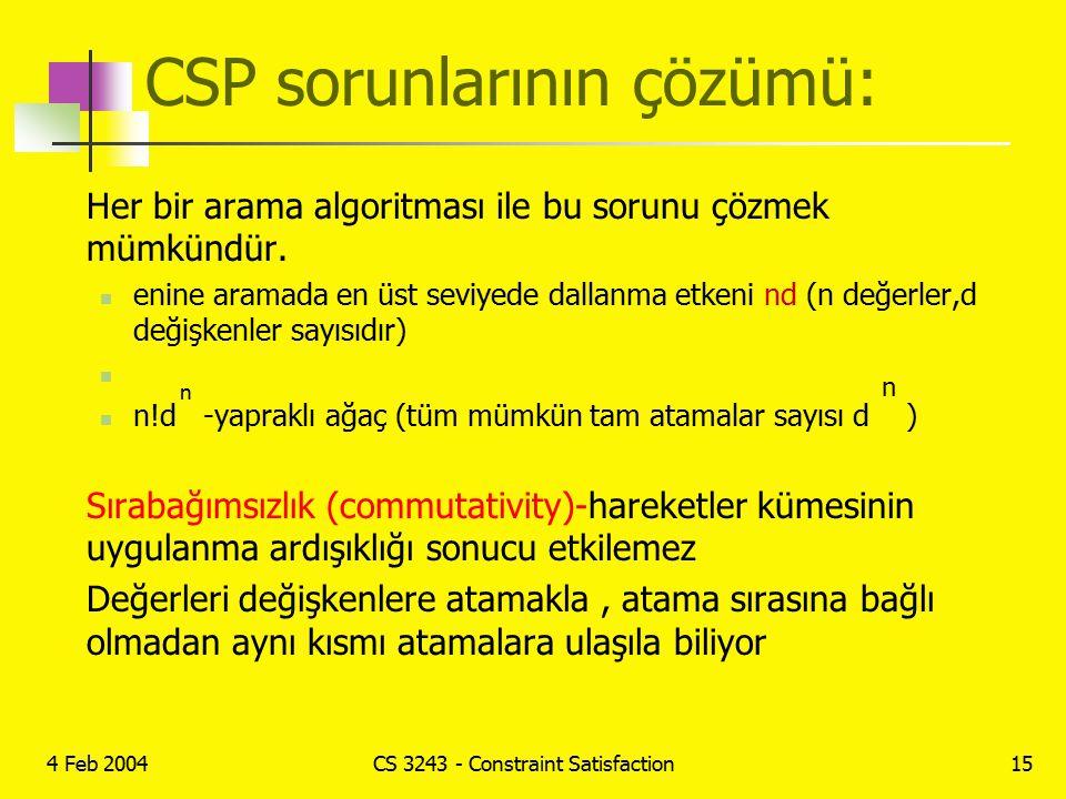 4 Feb 2004CS 3243 - Constraint Satisfaction15 CSP sorunlarının çözümü: Her bir arama algoritması ile bu sorunu çözmek mümkündür. enine aramada en üst