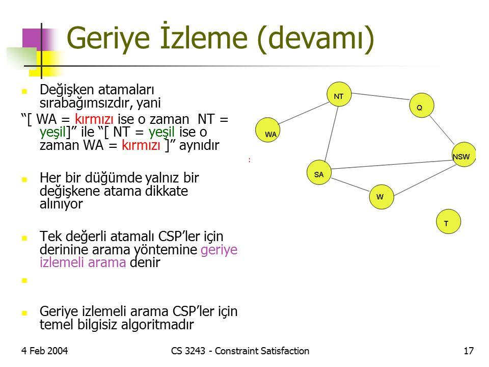"""4 Feb 2004CS 3243 - Constraint Satisfaction17 Geriye İzleme (devamı) Değişken atamaları sırabağımsızdır, yani """"[ WA = kırmızı ise o zaman NT = yeşil]"""""""