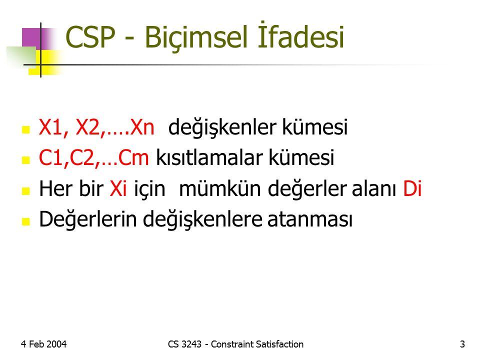 4 Feb 2004CS 3243 - Constraint Satisfaction3 CSP - Biçimsel İfadesi X1, X2,….Xn değişkenler kümesi C1,C2,…Cm kısıtlamalar kümesi Her bir Xi için mümkü
